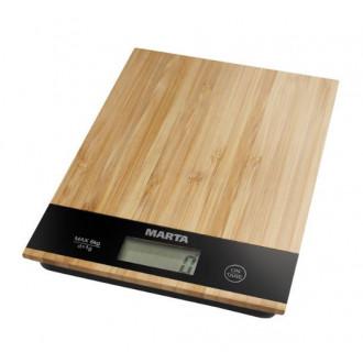Стильные кухонные весы Marta MT-1639 из бамбука