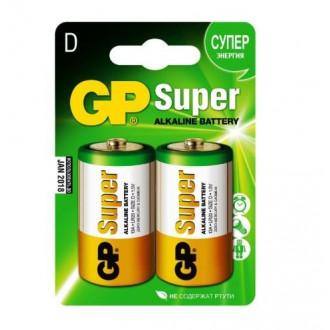 Батарейки GP Super Alcaline типоразмер D 2шт 13А 13A-2CR2
