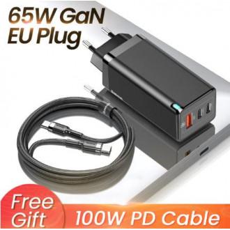 Зарядное устройство Baseus GaN 65 Вт + кабель 100 Вт