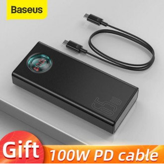 Очень мощный повербанк Baseus 30000 мАч USB-C 65 Вт + кабель USB Type-C 100 Вт в подарок