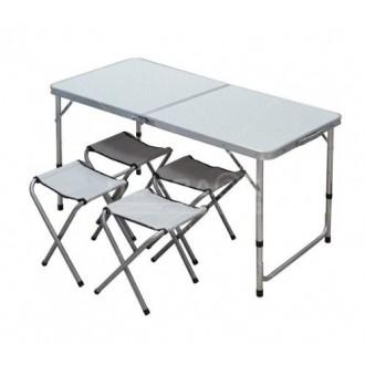 Стол складной со стульями YTFT013 серый, 120х60х68.5 см