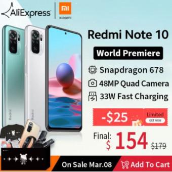 Смартфон Redmi Note 10 глобальная версия на распродаже 8 марта