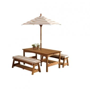 Комплект садовой мебели KidKraft (стол, 2 скамейки, зонт) со скидкой