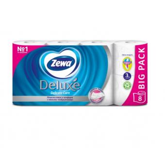 Туалетная бумага Zewa Deluxe белая трёхслойная, 8 рул. при покупке 4 упаковок