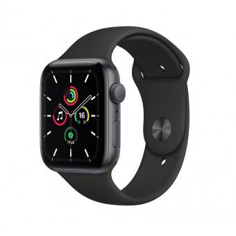 Часы Apple Watch SE GPS 44 мм корпус из алюминия серый космос + ремешок черный (MYDT2RU/A) по классной цене