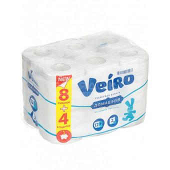 Туалетная бумага 2-слойная Veiro Домашняя белая, 12 шт по отличной цене