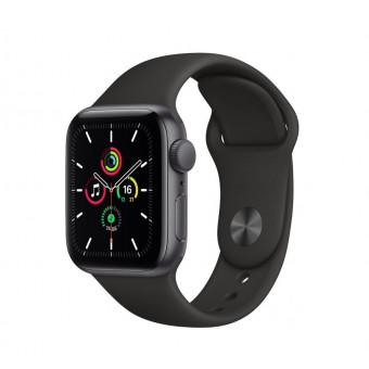 Часы Apple Watch SE GPS 40мм корпус из алюминия серый космос + ремешок черный (MYDP2RU/A) по выгодной цене