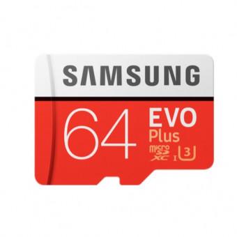 Мощная карта памяти Samsung Evo Plus microSD UHS-I U3 64GB с адаптером по низкой цене
