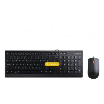Клавиатура и мышь Lenovo 300 Combo GX30M39635 чёрные проводные с промокодом