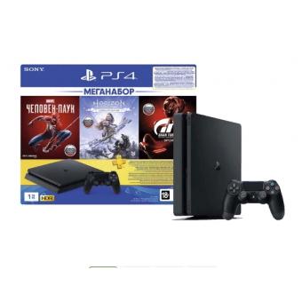 Игровая приставка PlayStation 4 1TB Gran Turismo Sport + Horizon Zero Dawn. Complete Edition + Человек-паук + PS Plus на 3 месяца