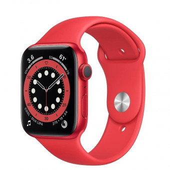 Умные часы Apple Watch Series 6 GPS 44мм Aluminum Case with Sport Band в красном цвете со скидкой