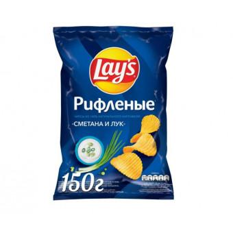 Чипсы Lay's картофельные Сметана и лук рифленые, 150 г по самой низкой цене