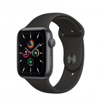Часы Apple Watch SE GPS 44мм корпус из алюминия серый космос + ремешок черный (MYDT2RU/A) по выгодной цене