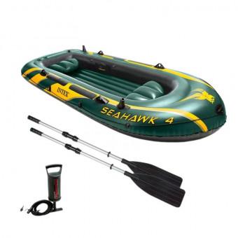 Надувная лодка Intex Seahawk-400 в зелёном цвете по крутой цене