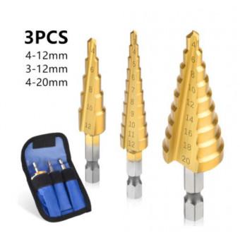 Набор ступенчатых свёрл в количестве 3 шт по спуперцене