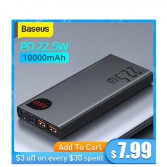 Портативный аккумулятор Baseus Power Bank 10000 мАч по крутой цене