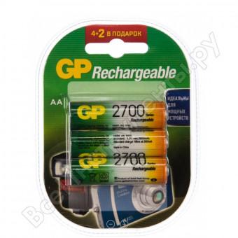 Перезаряжаемые аккумуляторы GP 270AAHC ёмкостью 2700 мАч целых 6шт и со скидкой