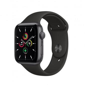 Часы Apple Watch SE GPS 44мм корпус из алюминия серый космос + ремешок черный (MYDT2RU/A) по классной цене
