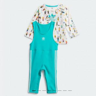 Детский комплект: футболка и комбинезон с яркой графикой по отличной цене
