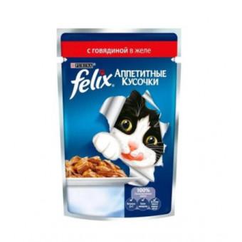 Влажный корм для кошек Felix Аппетитные кусочки с говядиной, 24 шт по 85г. 2 упаковки по классной цене