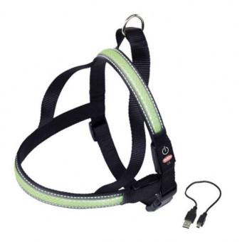 Шлейка Nobby для собак, светодиодная, зелёная, M/60-75 см